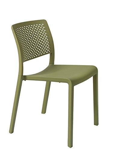 Resol Trama Set de 2 sillas de diseño para interior, exterior, jardín, Verde oliva, 54 x 48 x 80 cm