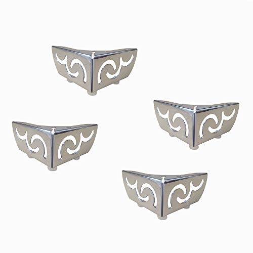 QXXXQ kastpoten van metaal, meubelpoten van verchroomd staal, voor bank, tafelhouder, bloemen, opengebroken, 4 stuks, zilverkleurig (55 mm)