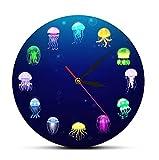 cbvdalodfej Reloj de Pared de Medusas oceánicas con Estampado Colorido, decoración de Acuario de guardería, jaleas de mar, Reloj de Pared Decorativo, Arte de Pared de Animales Marinos