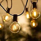 Guirnaldas Luminosas de Exterior, BRTLX 50Ft G40 Impermeable Cadena de Luces con 16 LED Bombillas Inastillables (1 Bomnillas de Reemplazo) Perefcto para Jardín Patio Fiesta Cafe