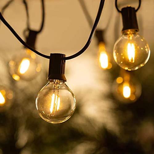 LED Lichterkette Außen, BRTLX 15M G40 Garten Lichterkette Aussen mit 25 LED Bruchsichere Birnen E12 Warmweiß 2700K Wasserdichte Lichterketten für Party, Hochzeit, Weihnachten (1 Ersatzlampen)
