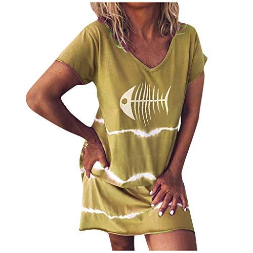 URIBAKY Schöne Kurzarm Fischdruck Tunika T Shirt Kleider Knielang,Damen Große Größen,Freizeit Minikleid O-Ausschnitt Casual Sommerkleider