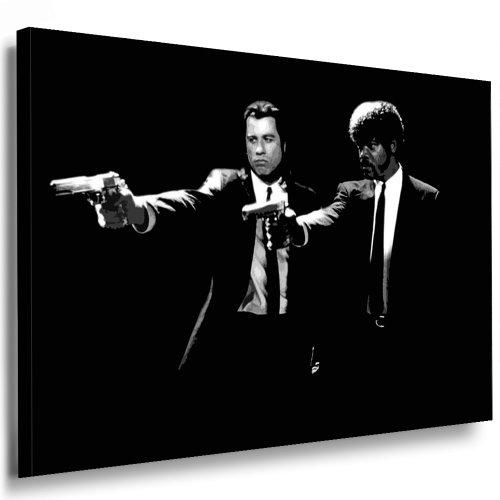 Fotoleinwand24 Bild auf Keilrahmen - Pulp Fiction AA0168 / Schwarz-Weiß / 70x50 cm