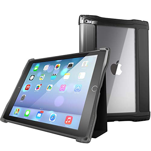 UZBL iPad 10.2 (7th Gen) Case, Rugged Folio Case with Magnetic Removable Smart Cover, Multiple Standing Angles, Clear Rear Window (Black)