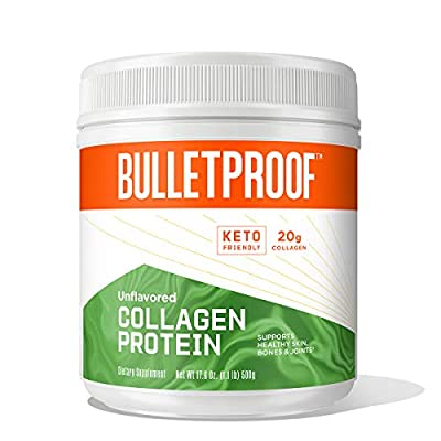 Bulletproof Collagen Protein Powder, Unflavored, Grass Fed Collagen Peptides and Amino Acids for Healthy Skin, Bones and Joints, 18g Protein, 17.6 Ounces