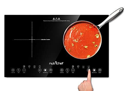 Double Induction Cooktop - Portable 120V Portable Digital Ceramic Dual Burner w/ Kids Safety Lock -...