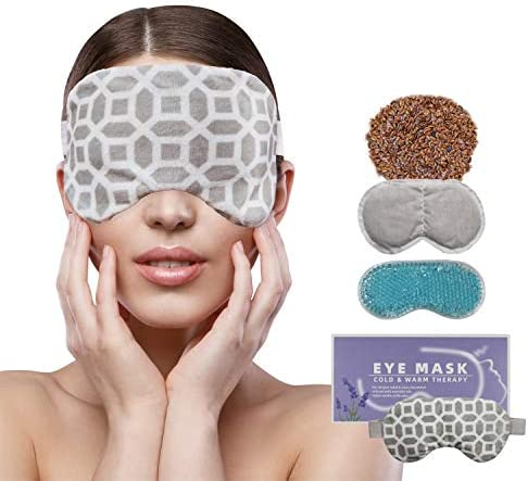2 in 1 Heated Ice Eye Mask Moist Heat Eye Mask Lavender Flaxseed Sinus Pillow Microwavable for product image