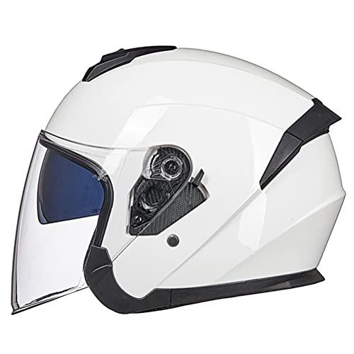 WWJJLL Casco de Moto de Motocicleta, Casco de Moto Open Motorbike Summer Unisex Unisex Casco Protector para Adultos Bicicleta de esquí Medio Visor Helmet Helmet a Prueba de Viento Universal,2,M