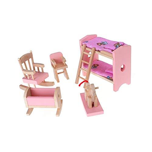 Beito Mini-Holz-Möbel-Satz umfasst Stuhl Etagenbett Wiege Kind-Kind-Geschenk-Puppenhaus Miniatur-Möbel Spielzeug