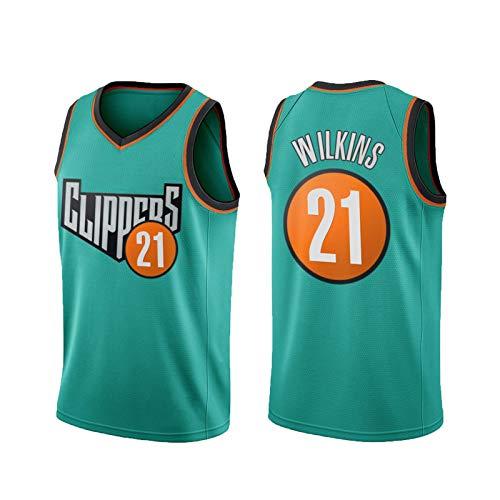 QGGQ Camiseta de Baloncesto CLIPěRS 21# WǐLKǐNS Camiseta para Hombre Camiseta sin Mangas Sudadera Sudadera Sweatshirt, Juego competitivo Deportes al Aire Libre Versión s S