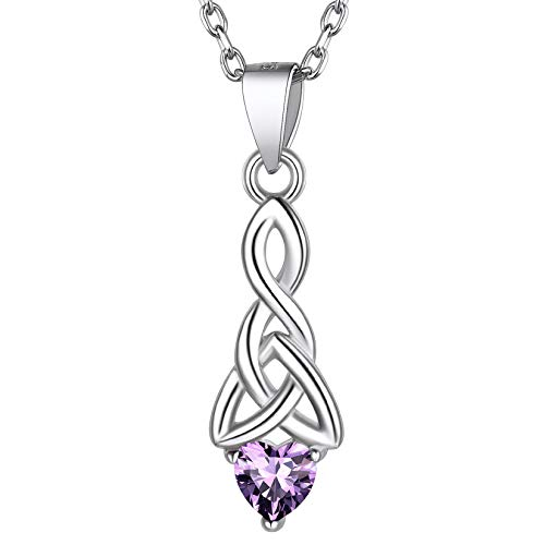 925 Sterling Silver Heart Necklace, Purple Amethyst Crystal Birth Stone Necklesses Dainty Cute Celtic Knot February Birthstone Necklaces for Women Girls