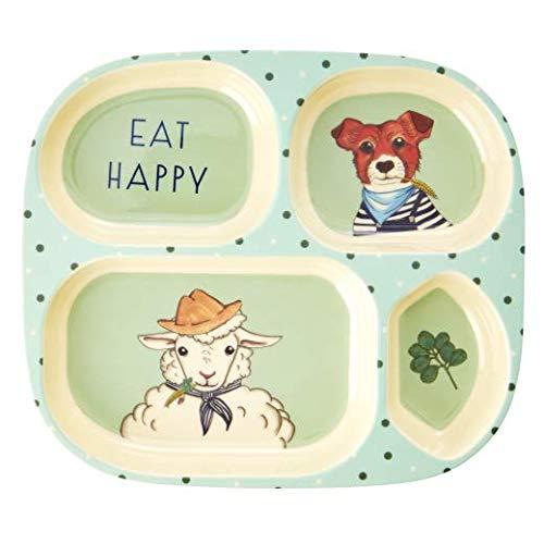 Rice Kinder 4-Fächer Teller aus Melamin mit Farm Animals Print - Green