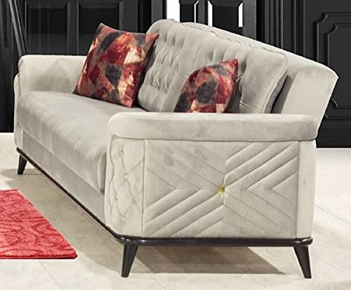Casa Padrino sofá Cama Chesterfield Gris/Negro 230 x 90 x A. 80 cm - Sofá de salón Moderno - Muebles de Salón Chesterfield