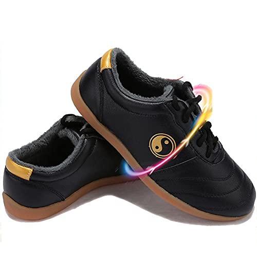Unisex Zapatos de Artes Marciales Tai Chi , Invierno Zapatos de Kung Fu Taekwondo para Hombres y Mujeres, Suela Oxford Adulto Zapatillas de Entrenamiento Deporte para Boxeo,(Size:37EU/6US,Color:negro)