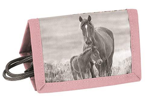 Ragusa-Trade Mädchen Kinder Geldbeutel Portemonnaie Geldbörse Brustbeutel mit Kordelband mit tollem Pferde Motiv (20KO), Rose/grau, 12 x 8,5 x 1 cm