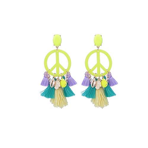 Feing - Orecchini a forma di nappa, a forma di grande pace, gioielli Oorbellen e NA, colore: Giallo, cod. KPA7212