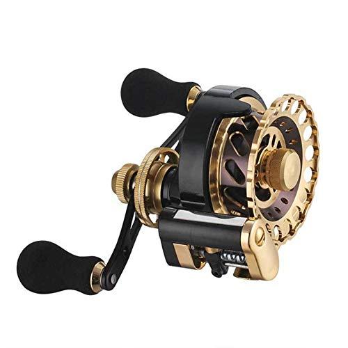JKZX Carrete de la Pesca de la Carpa Pesca Mar Pesca Carretes del Cuerpo del Metal Carrete de Pesca (Color : Golden, Size : Right)