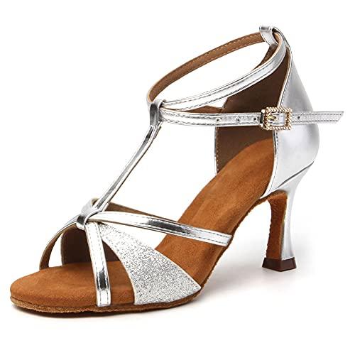 HIPPOSEUS Zapatos de Baile Latino para Mujeres Salsa Performance Dancing Shoes con Glitter Leather Modelo 255,Plateado Color,EU 37