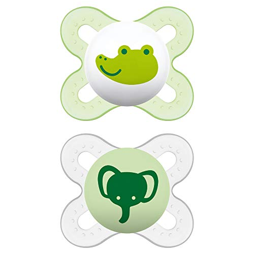 MAM Start Newborn Pacifiers (2 pack, 1 Sterilizing Pacifier Case), Newborn Unisex Pacifiers, Best Pacifier for Breastfed Babies, Designs May Vary