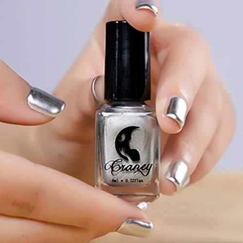 Esmalte de uñas de 6 ml, efecto espejo, metálico, para uso profesional, color acero