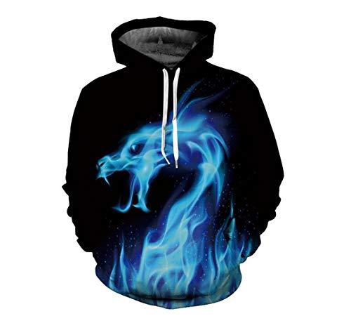 Xingmu hoodie digitale print 3D blauwe draak mannen en vrouwen verbinden met capuchon gebreid vest