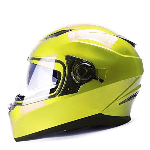FLY® Casque Intégral De Moto, Casque De Véhicule Électrique Entièrement Recouvert, Homme, Hiver, 5 Couleurs (Couleur : Le jaune)