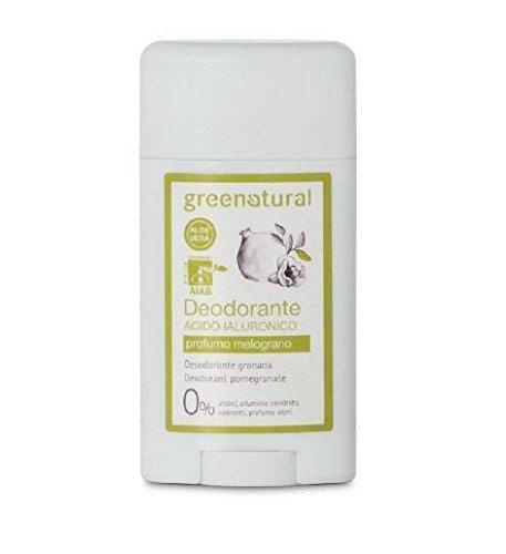GREENATURAL - Gel desodorante a base de alumbre de potasio, ácido hialurónico y aloe vera orgánico - Fragancia natural de granada - Gel roll-on – 50 ml