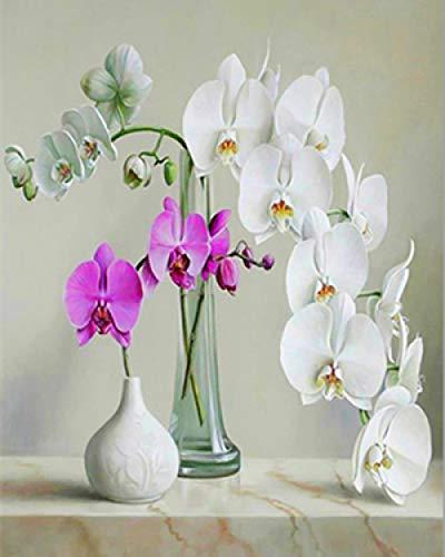 Olieverfschilderij, knutselen, handbeschilderd, op canvas, voor het beschilderen van bloemen in de gereedschapskist, vaas, digitale decoratie, genummerde digitale schilderingen, 40 x 50 cm, zonder lijst
