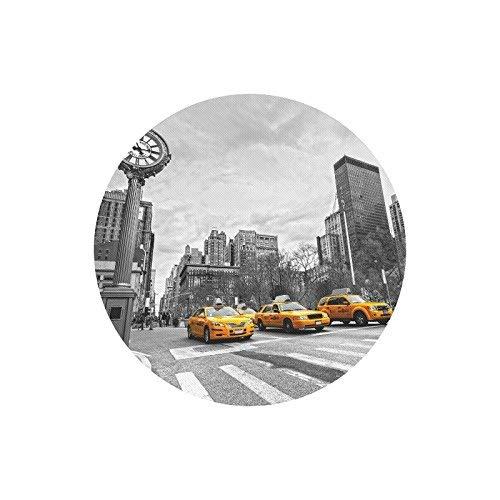 Gelbes Taxi in der Straßenansicht von NYC New York City Runde rutschfeste Gummi Komfortable Computer Mauspad Gaming Mousepad Matte mit Designs für Office Home Frau Mann Angestellter Chef Arbeit