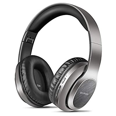 Wireless Headphones Over Ear, WorWoder [50 Hrs Playtime] Bluetooth Headphones, Foldable Hi-Fi Stereo, Soft Earmuffs & Light Weight, Built-in HD Mic & Wired Mode for Cellphone PC TV (Grey) from WorWoder