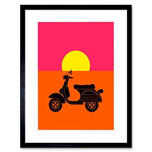 Wee Blue Coo Painting Drawing Moped Scooter Motorbike Sun Lámina Enmarcada 12 x 16 Pulgadas
