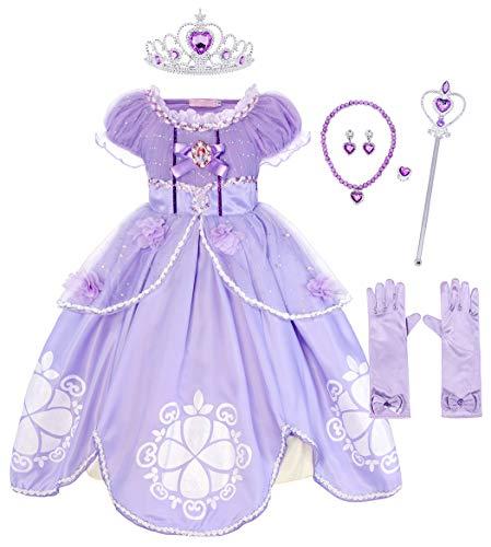 AmzBarley Prinzessin Sofia Kostüm Kleid Kinder Mädchen Verkleidung Party Schick Kleider, Lila 02 mit Dekorationen, 2-3 Jahre