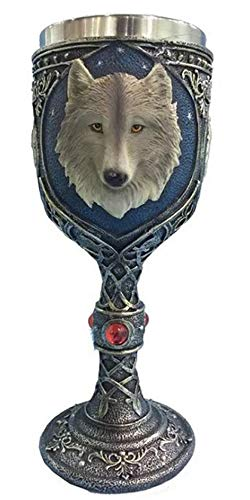 YATB 3D Wolf Celtic Tribal Magic Resin Stainless Steel Wine Chalice Goblet