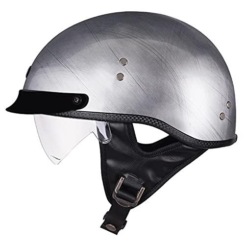 LILIXINGSH Casco Moto Abierto, Retro ECE Homologado Cascos Moto Half Helmet con Visera, Casco Moto Jet Hombre Mujer para Scooter Mofa Crash (Color : B, Size : 55-56CM(M))