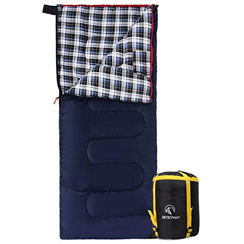 REDCAMP Outdoors Cotton Flannel Sleeping Bag for Camping Hiking Climbing Backpacking, 3-Season Trip...