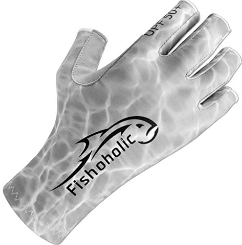 Fishoholic Fingerless Fishing Glove S/M w' Super Grip UPF50+ Sun Protection Fishing Gloves Sun Screen UV Glove for Men and Women Kayaking Hiking Paddle Board Paddling Rowing Canoe (GreyCamo, S/M)
