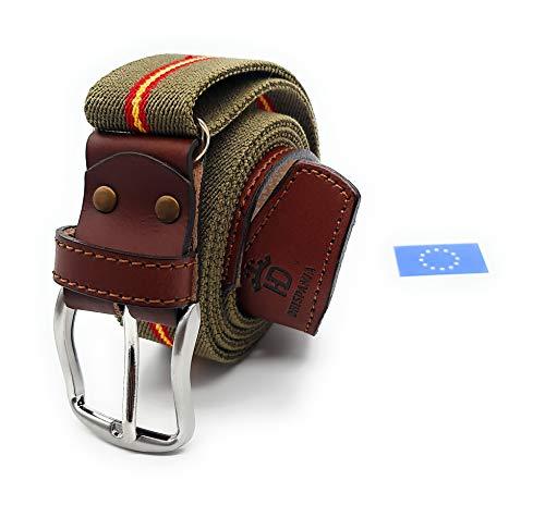 RAU Cinturon de hombre bandera de españa elastico y terminaciones en piel.(ES AJUSTABLE VALE DESDE LA TALLA...