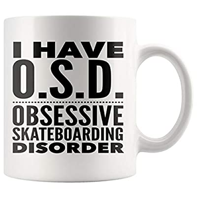 ArtsyMod OSD OBSESSIVE SKATEBOARDING DISORDER Typography Premium Coffee Mug, PERFECT FUNNY GIFT for the Skateboarding Lover! Attractive Durable White Ceramic Mug