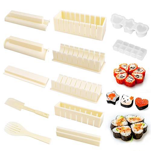 OMEW Sushi Maker Kit 10 PCS Moules à Sushi Cuisine Bricolage Facile Kit de Préparation à Sushi Sushi Set Set Riz Rouleau Kit Sushi Sushi Maker DIY Cuisine Coffret Complet