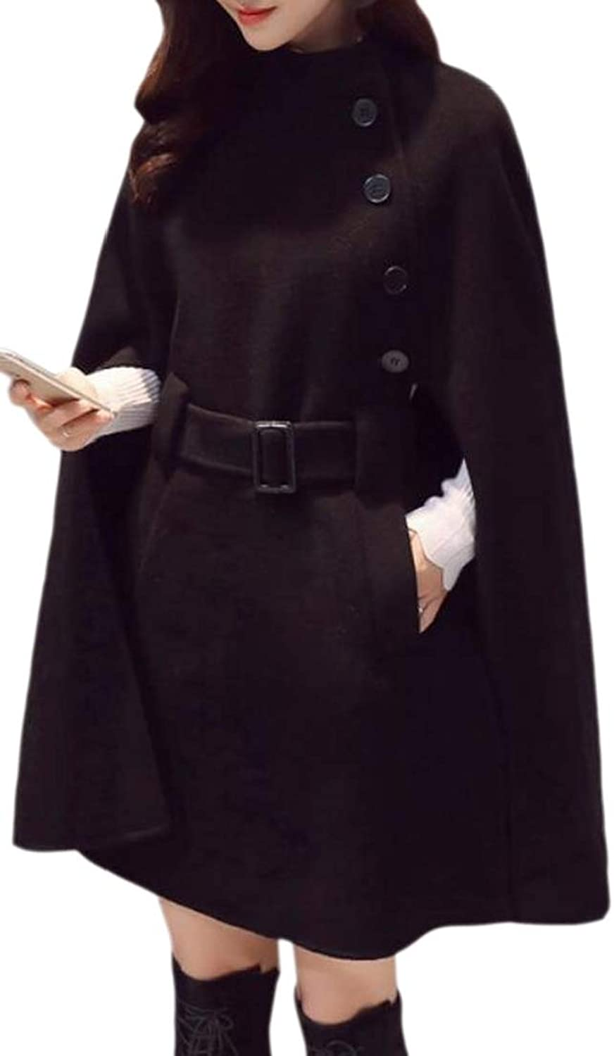 Generic Womens Fall Winter Wool Blend Belted Stylish Cape Outwear Pea Coat
