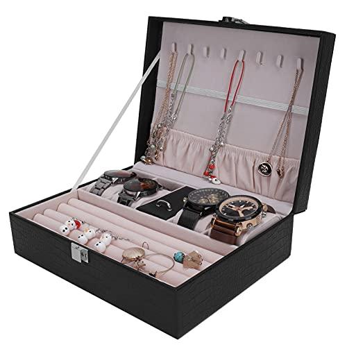 Dpofirs Joyero, Vitrina de Cuero de la joyería de la Caja de Reloj de la PU, joyero portátil para Hombres y Mujeres
