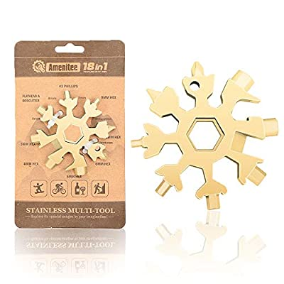 Saker 18-in-1 Snowflake Multi-Tool,AMENITEE 18 In 1 Incredible Tool – Easy N Genius - Saker 18-in-1 Stainless Steel Snowflakes Multi-Tool (GOLDEN)