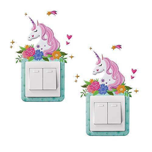 GOTONE 2PCS Lichtschalter Aufkleber Abdeckungsschalter Kinder 3D Sticker Surround for Home Room Abnehmbare, Selbstklebende Glitter-Wanddekor-Geschenke für Kinder Mädchen Womens Geburtstagsgeschenke