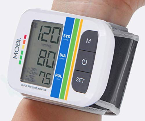 Mobi Health Automatic Wrist Blood Pressure Automatic Bp Cuff W/ Large LCD Display | Monitors Pulse Rate & Irregular Heart Rate Monitor Medical