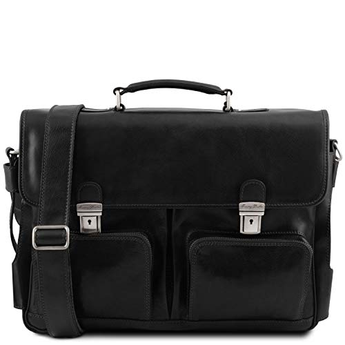 Tuscany Leather Ventimiglia Cartable TL Smart Multi Compartiments en Cuir avec Poches frontales Noir