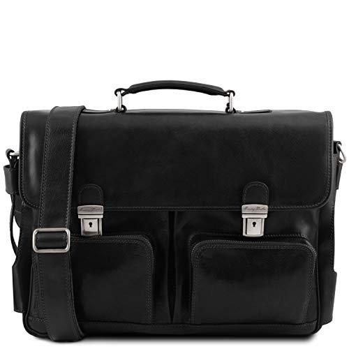 Tuscany Leather Ventimiglia Cartable TL Smart Multi Compartiments en Cuir avec Poches frontales Noir