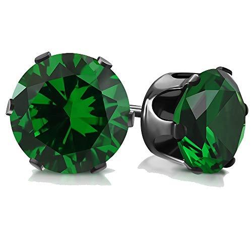 Pendientes de acero inoxidable y cristal, 4 mm, color verde