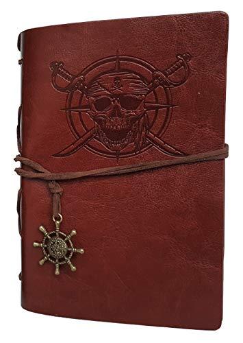 Cuaderno pirata - diario - diario - funda de piel sintética con hojas reemplazables