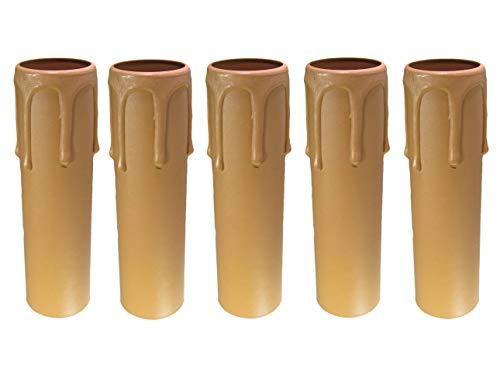 AMBROS - Kristall 5X E14 Fassunghülse ~ Kerzenhülse 105mm Kunststoff Beige ~ Creme Ø 27/29mm