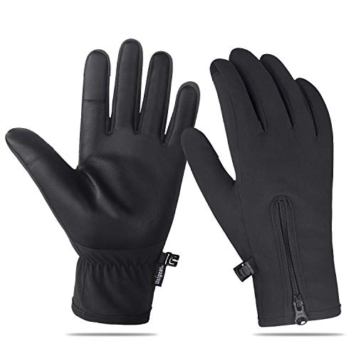 Unigear Winter Gloves Waterproof Outdoor Touch Screen Gloves for Running, Walking, Cycling, Ridding and Driving for Men & Women (Black, Medium)